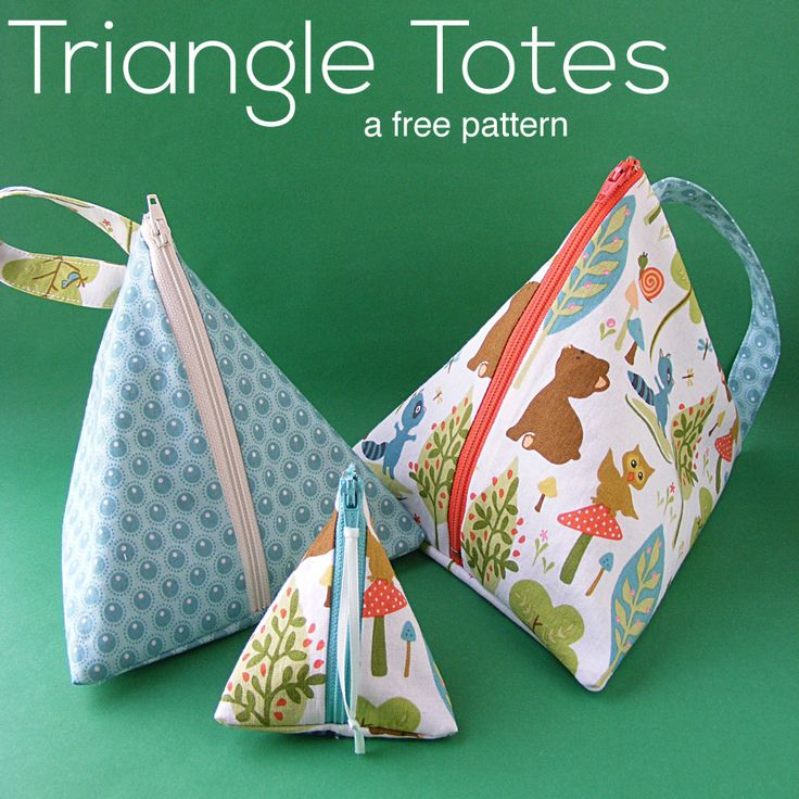 The free pattern for the Triangle Tote is clever and cute! They are handy-dandy …