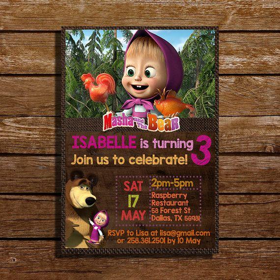 Masha and The Bear Birthday Invitation  Digital by CoralPartyDecor