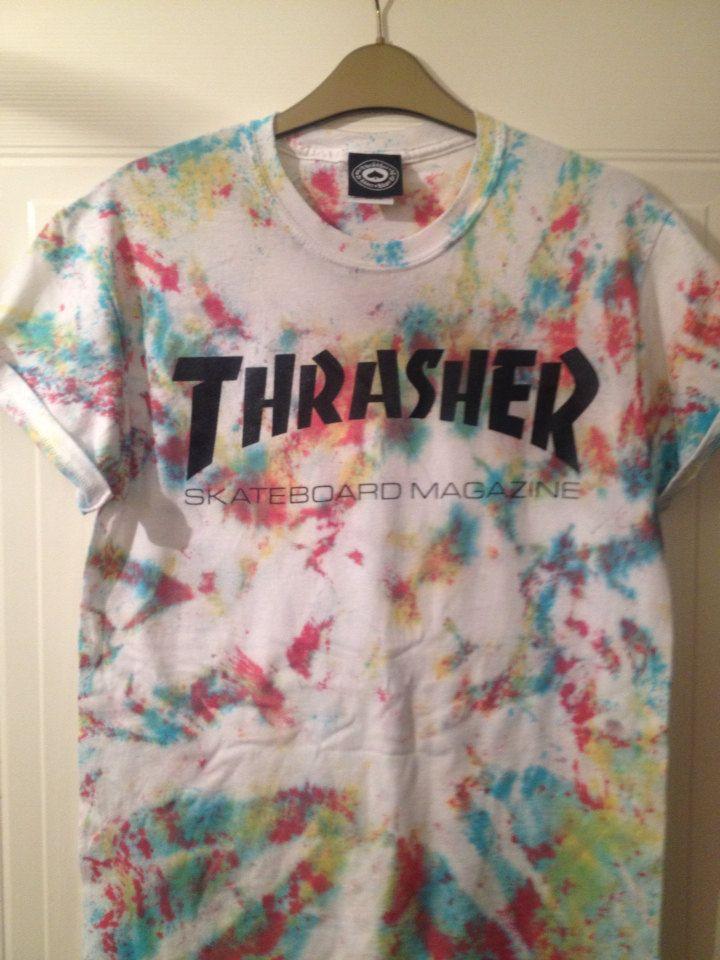 unisex customised acid wash tie dye thrashers t shirt sz small festival fashion ibiza by mysticclothing on Etsy https://www.etsy.com/listing/215422096/unisex-customised-acid-wash-tie-dye