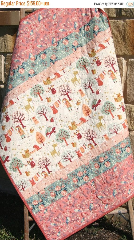 Baby Girl Quilt, Modern Blanket, Baby Bedding, Acorn Trail, Birch Organic Fabrics, Crib Quilt, Nursery Decor, Coral Mauve Pink