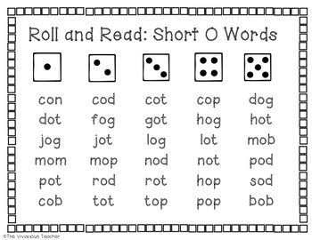 Grades K-2: Help students practice reading Short O CVC words with this engaging dice game!