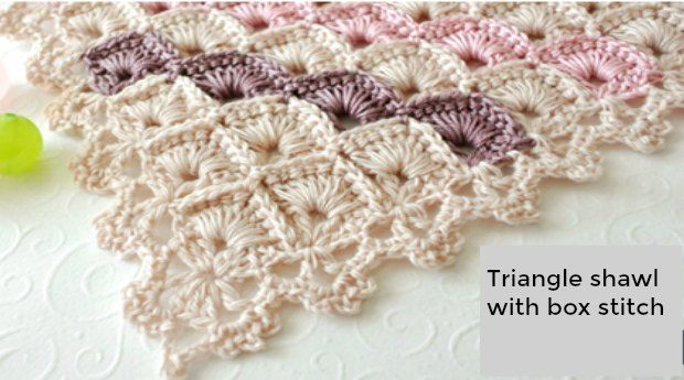 The crochet box stitch that was Stitch of the Week last week? We've been busily practicing this stitch, making up little squares to turn into this shawl.