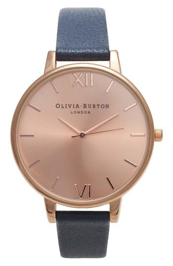 Free shipping and returns on Olivia Burton Big Dial Leather Strap Watch, 38mm at Nordstrom.com. A thin bezel rings the radiant sunray dial of an elegantly understated round watch balanced on a coordinating leather strap.