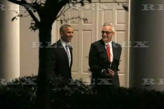 US President Barack Obama departs from the White House, Washington DC, USA - 14 Nov 2016  US President Barack Obama (L) walks on the colonnade with White House Chief of Staff Denis McDonough (R) prior to his departure aboard Marine One on the South Lawn of the White House i  14 Nov 2016