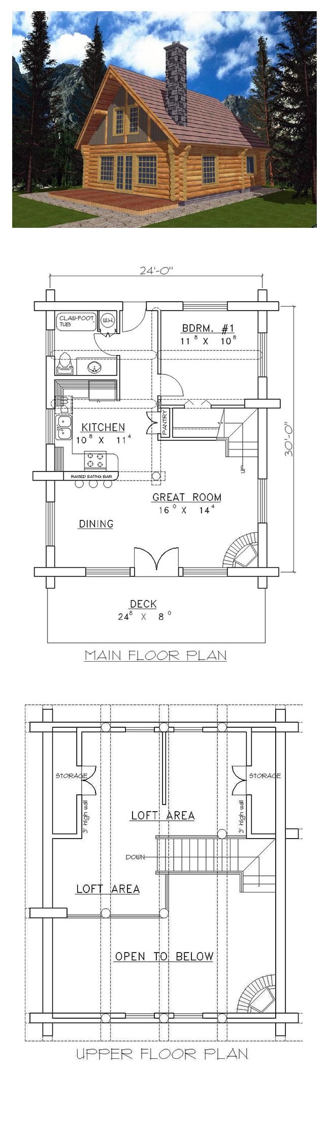 Best 25 1 bedroom house plans ideas on pinterest guest for One bedroom log cabin plans