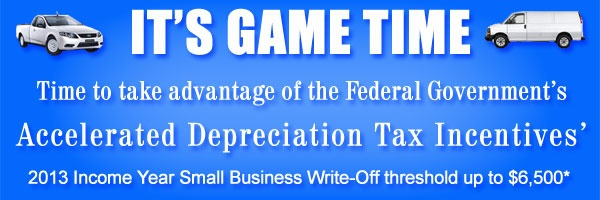 Commercial Motor Finance Express                  Accelerated Depreciation Tax Incentives.  For the financial year 2012 – 2013 (Income Year) the small business instant write-off threshold has increased from $1,000 to $6,500.         So why not take advantage of this incentive before June 30th 2013.    http://neomoney.com.au/business/commercial-vehicle-finance-express/