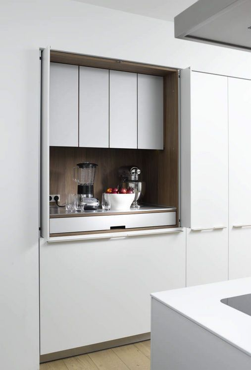 hidden space for appliances in the kitchen.
