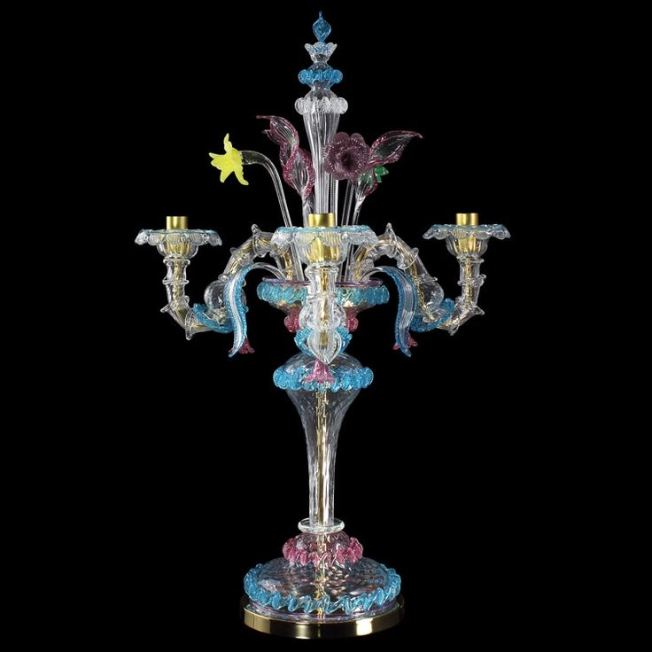 #Rezzonico #artistic glass #flambeau, crystal color with polychrome details. #Customizable #lightwork.