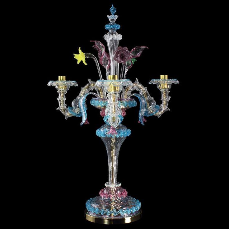 #Rezzonico #artistic glass #flambeau, crystal color with polychrome details. #Customizable #lightwork.