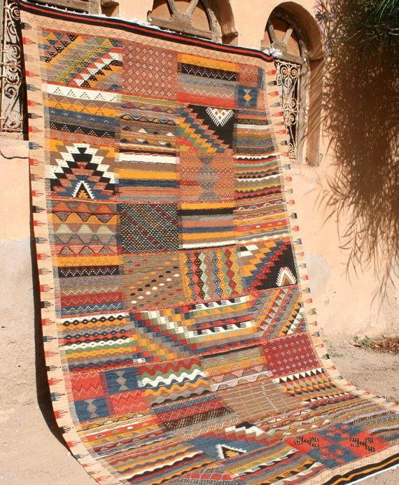 moroccan rug wall tapestry patchwork design kilim rug area rug carpet bohemian rug boho rug african rug tribal rug wall hanging