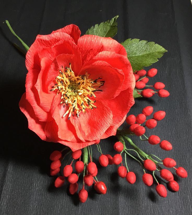Crepe paper rose and berries