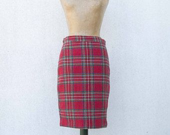 OFF% SALE///Vintage tartan skirt 1980s-used hand-sewn-Scottish skirt