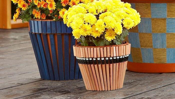 Pencil-Patterned Flowerpots