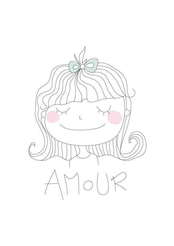 Poster for kids  Pastel illustration  AMOUR  Little Girl by Buul, €15.00