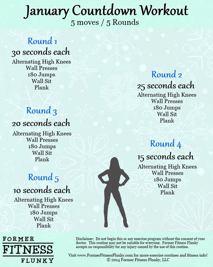 January Countdown Workout Routine. A quick, no equipment exercise routine that will get you moving!