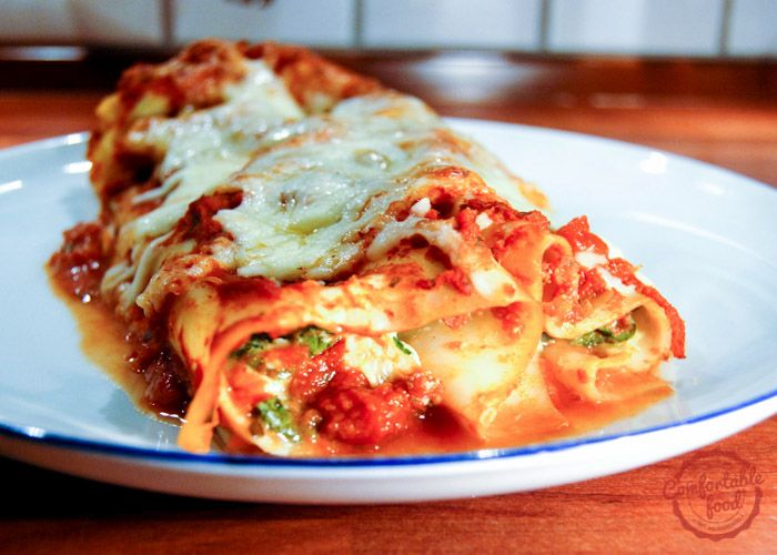 comfortable food - four cheese (and spinach) manicotti