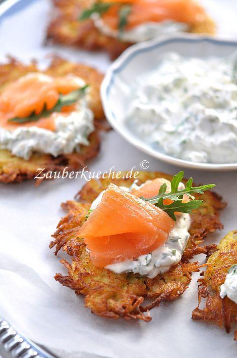 Knusprige Kartoffelpuffer mit Räucherlachs und Frischkäse- Dip.