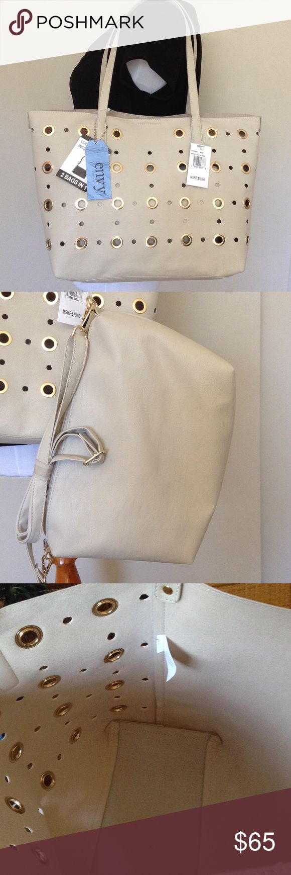 ENVY 2 Bags: Tote and Shoulder Bag 👜 2 bags for the price of 1. Great tote with eyelet rivets and neutral shoulder bag! Color is listed as bone with gold detail ENVY Bags