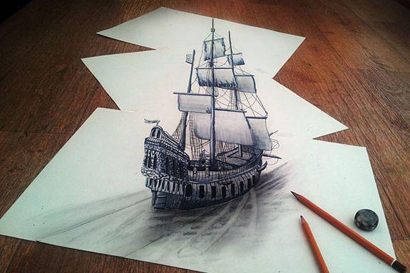 I disegni a matita di Ramon Bruin. Le illusioni ottiche in 3d