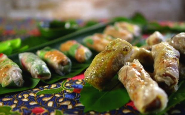 Trio of Spring Rolls with Dipping Sauce Recipe by Reza Mahammad : Food Network UK