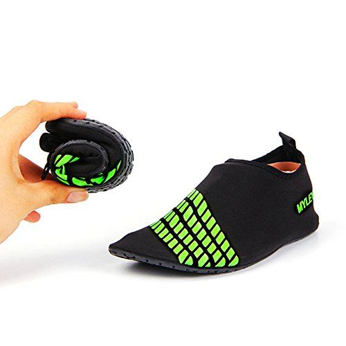 Men Women Pull-On Quick-Dry Skin Water Sports Aqua Shoes Socks Outdoor Sneaker Holey Ventilation KPU Outsole 1Green US Size XL $20.00