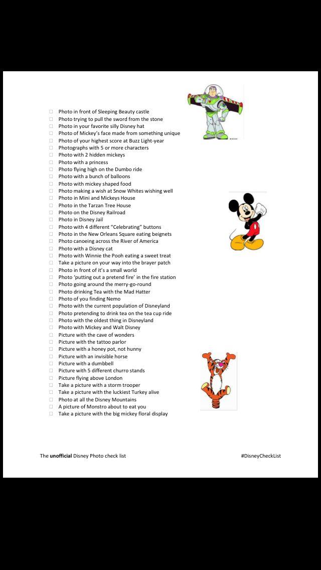 Disneyland photo check list!! Scavenger hunt, picture check list. Best disney photo opportunities!!! Venez profitez de la Réunion !! www.airbnb.fr/c/jeremyj1489
