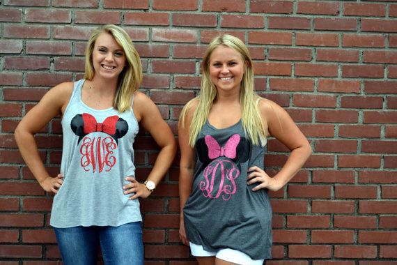 Minnie Mouse Monogram Tank Shirt Disney by embellishboutiquellc