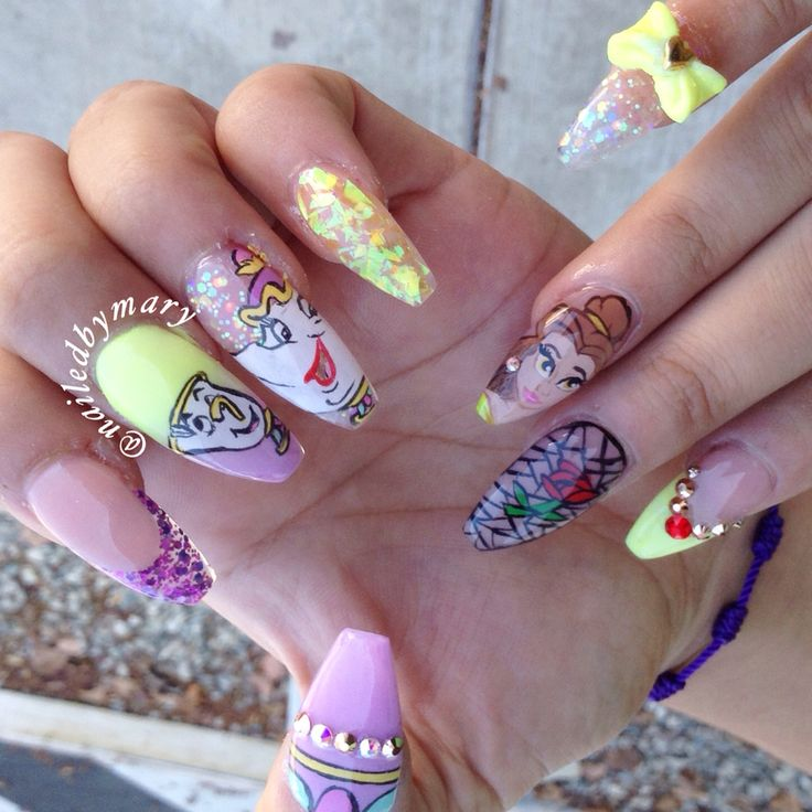 Disney beauty and the beast belle mrs pott and chip coffin ballerina acrylic nails