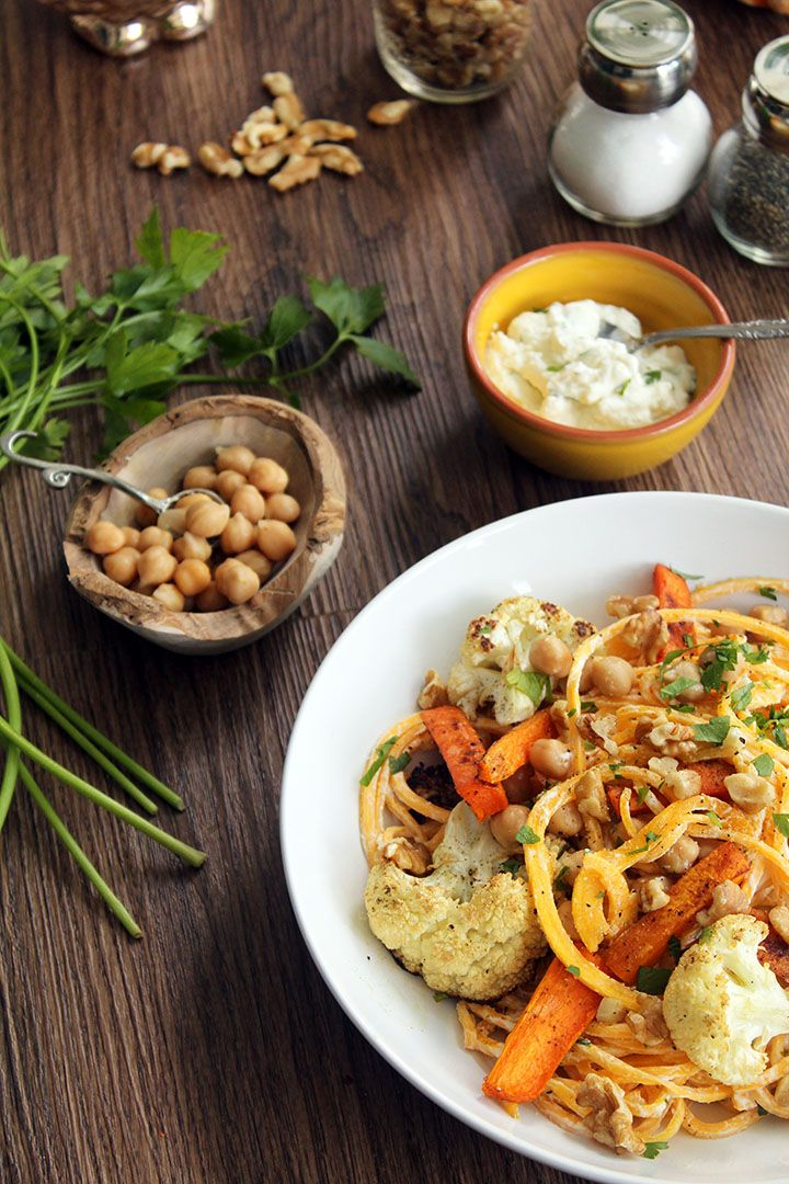 with Walnuts, Chickpeas and Cumin-Roasted Carrots and Cauliflower ...