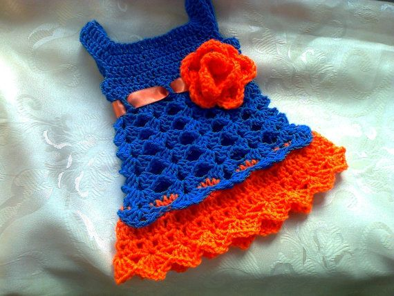 Florida Gator baby dress  Blue and orange crochet by paintcrochet, $35.00