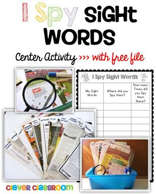 Laminate magazine pages, flyers, menus, warranty pages for students to hunt sight words, using a dry erase marker. >>>> Spy Sight Words Reading Activity with a FREEBIE Clever Classroom