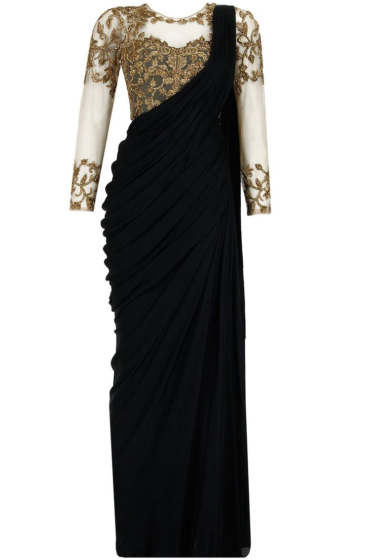 Black antique gold embroidered pre stitched sari-gown available only at @ The vogue Outlet. www.thevogueoutlet.com