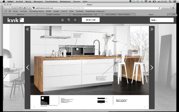 Keuken Greeploos Hout : Kvik, Keuken, Kookeiland, Hooglans wit, Greeploos, Hout Idee?n voor