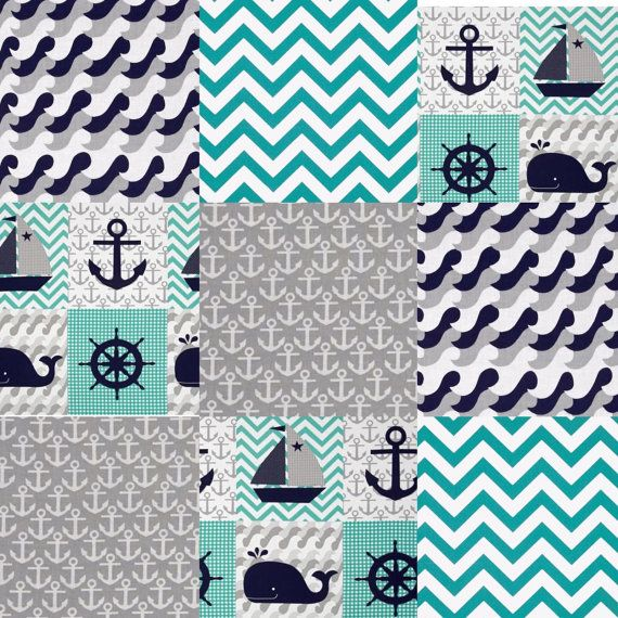 Baby Rag Quilt Nautical Whale Anchor Turquoise Chevron