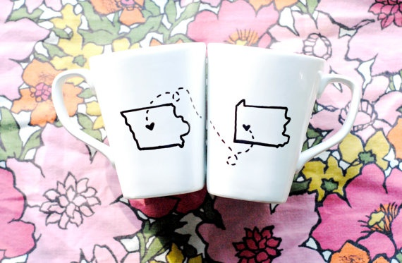State or Country Heart Mugs-Going Away Present, Moving Away, Long Distance Relationship, Miss You, Overseas Adoption- Customize. $30.00, via Etsy.