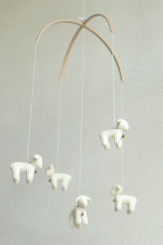 nursery decor  baby mobile  Lamb mobile  Sheep mobile by Patricija