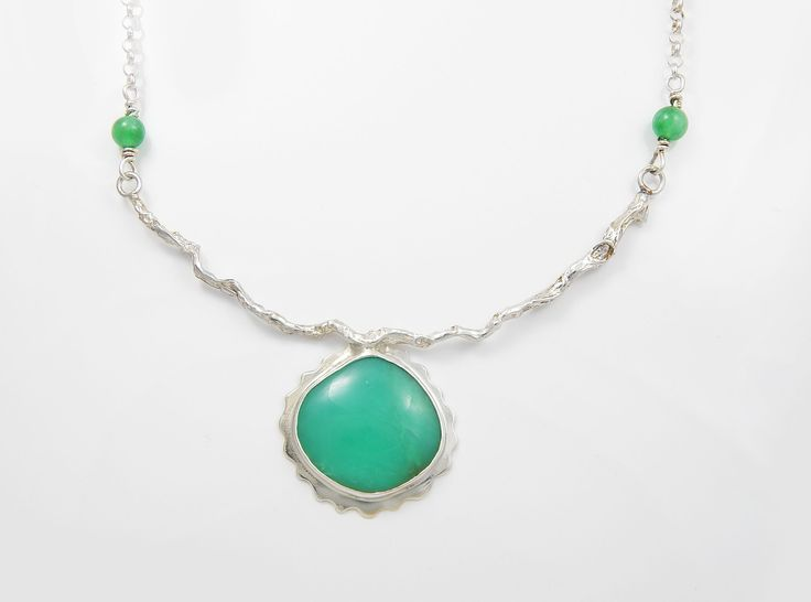 """""""GREEN GODDESS"""" Chrysoprase Pendant 25mm x 25mm Chrysoprase cabochon set in sterling silver with a 4"""" s/s vine and chrysoprase beads and 16"""" rolo link chain.  $128"""