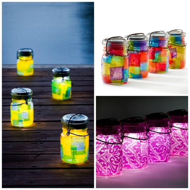 28 Outdoor Lighting DIYs To Brighten Up Your Summer.  I am going to have the kids decorate the jars for the solar lights and they can put it our for a nightlight.