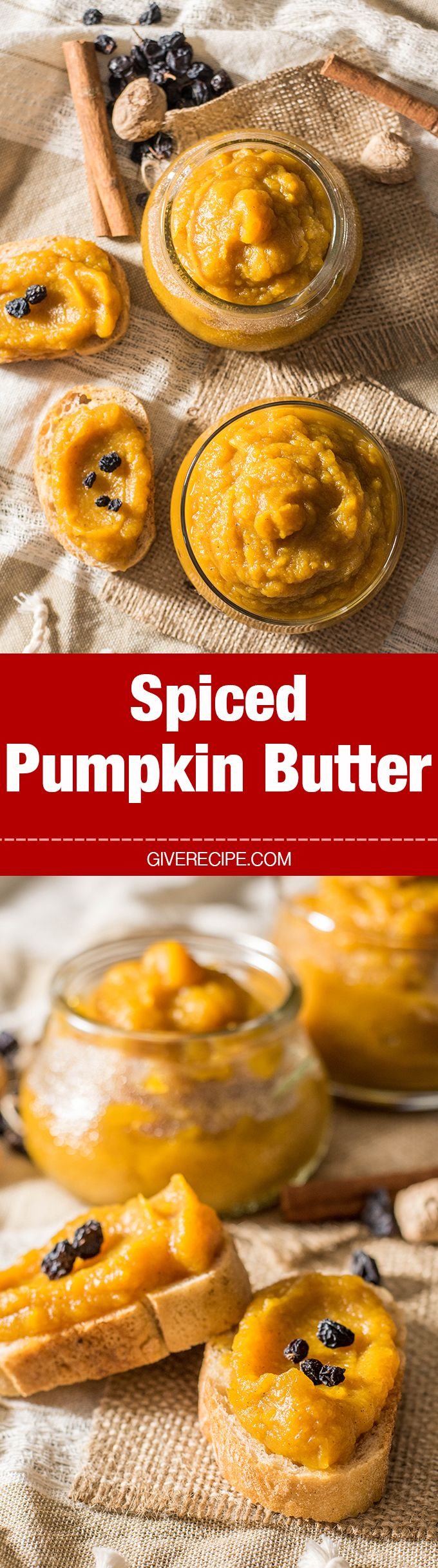 Spiced Pumpkin Butter is perfect for the fall season. Spread it on bread at breakfast or use it in cakes or cookies. Or just eat from the jar with a spoon as a dessert.