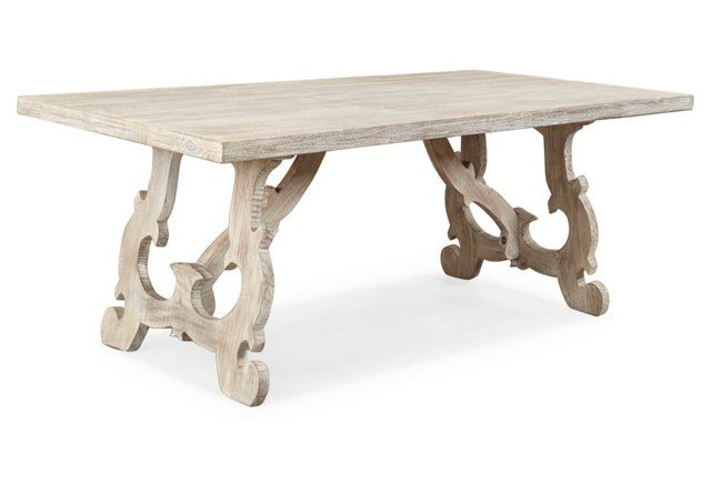 Intricately Carved Legs And An Extended Apron Support The Clean Lined  Surface Of This Rectangular Dining Table. Crafted Entirely Of Mango Wood  With A ...