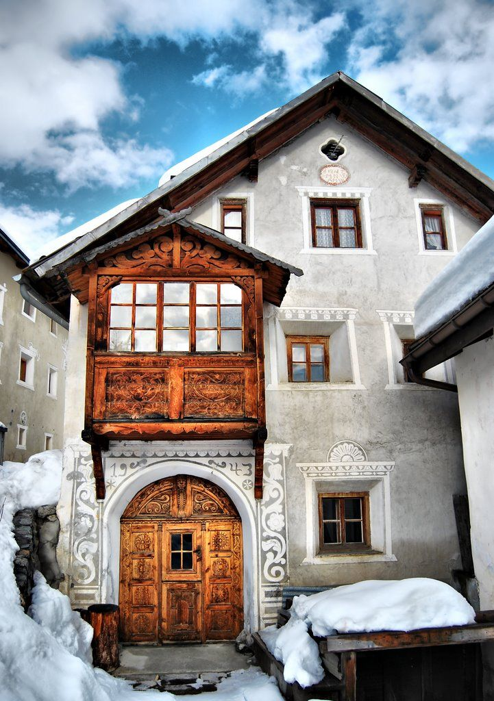 Typical House in Sent, Engadine, Switzerland