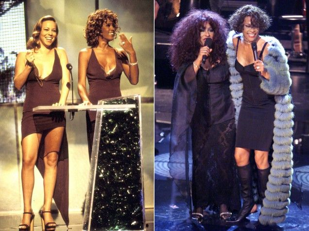 The Greatest Diva of All: Whitney Houston pictured with Mariah Carey in 1998 and Chaka Khan in 1999