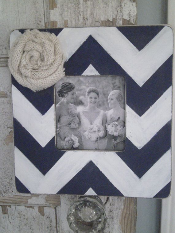 Adorable Chevron Frame with Burlap Embellishment Great for Rustic Wedding, Bridesmaids Gifts, Baby Showers