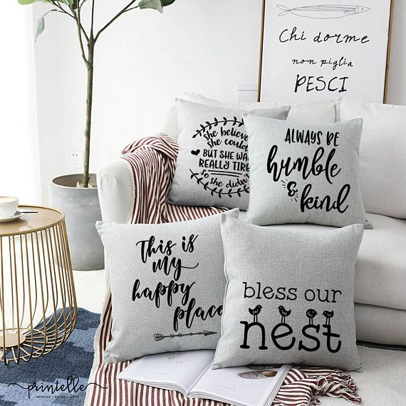 Bless Our Nest Pillow Cover Cottage Chic Rustic Home Decor Throw Pillows Living Room Pillows Decorative Diy Farmhouse Pillows