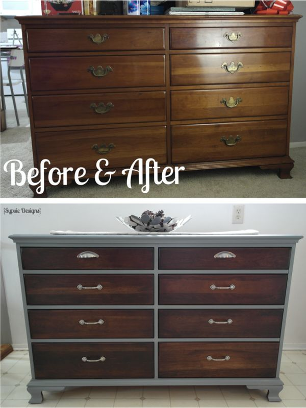 Old Dresser Makeover With Gray Paint Dark Walnut Stain And New Hardware Sypsie
