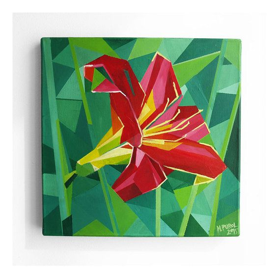 ACRYLIC PAINTING FLOWER 02 red lily geometrical by PurolDesignBags #red #flower #art #lily #geometric #painting