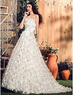 Vestido de Noiva Trapézio/Princesa Sem Alças Cauda Escova (Renda/Tule/Cetim Elástico)