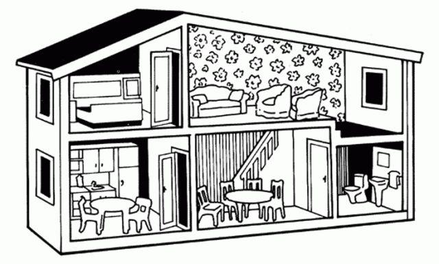 Dollhouse coloring page Poppenhuis Kleurplaten Kleine