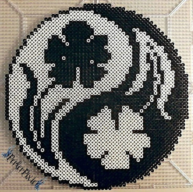 Floral Yin and Yang perler beads by PerlerPixie