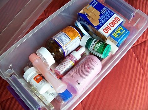 Pack a Medicine/Hygeine Box --Bandages, Infant Pain Reliever, Children's Advil, Benadryl, Travel sizes of Shampoo/Conditioner, Excedrin, Sunblock, Thermometer, Motrin PM, Body Wash, Neosporin, Fingernail Polish Remover, Multi-Vitamins